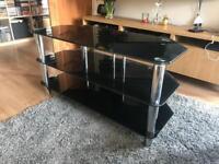 Black glass three-shelf TV unit
