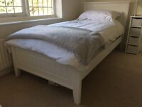 3ft White Wooden Single Bed.