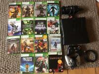 Xbox 360, 250GB, 2 controllers, 15 games