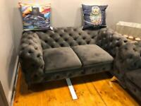 Chesterfield 2 seater & armchair in grey plush fabric