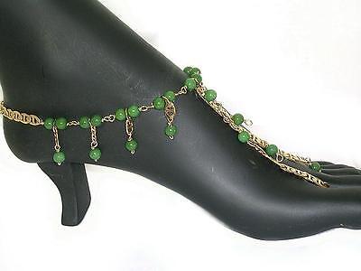 Jade Sandal foot anklet Belly dance ankle Boho slave Barefoot sandal Foot brace