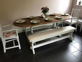 Stunning Shabby Chic Table , 2 benches , 2 chairs