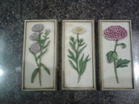 Wild Flowers Wall Plaques (set of 3)