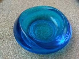 Gorgeous blue chunky glass bowl