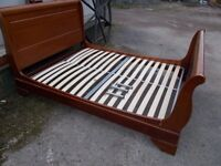 Bed Double Wooden Stained Pine