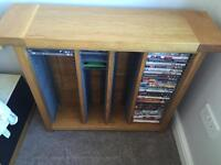 Solid Oak DVD and cd Rack