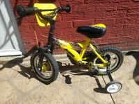 boys/girls raleigh mx12 bike with stabilizers, suitable for age 3 upwards, in vgc, Bargain £25