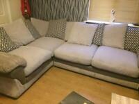 Beautiful grey jumbo cord corner sofa in excellent condition