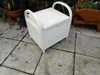 vintage lloyd loom linen seat box storage with handles