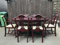 Mahogany Dining Table & Chairs ( Can Deliver )