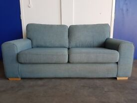 LIGHT BLUE FABRIC SOFA / SETTEE / WOODEN LEGS DELIVERY AVAILABLE