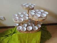 Rustic cake stand, wood slices 4 tier cake stand Wedding/Party