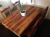 IMMACULATEsolid Rustic Oak Indian Jali Sheesham Farmhouse Country Wooden Dining Table 4