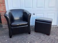 Brown Tub Chair and Footstool