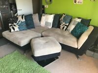 Corner Sofa, Single Seater and Footstool £180