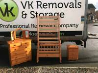 pine wood single bed chest of drawers and locker