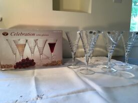 Set of 6 Celebration Lead Crystal Wine Glasses