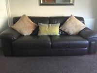 3 seater and 2 seater brown leather sofas in really good condition