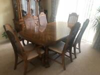 Dining table, chairs and Welsh dresser