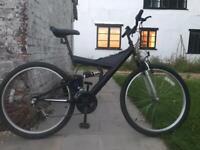 "*PRICE DROP* full suspension mountain bike - black, 26"", 3x6 18 gears, size medium"