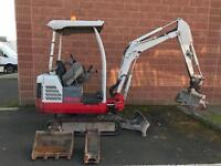 Takeuchi TB016 1.6T Mini Digger Canopy with 3 Buckets Expanding Tracks - Site Ready