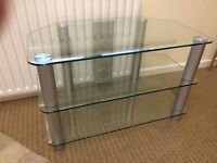 Chrome and glass TV table