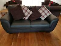 2 Black leather 3 seater sofa
