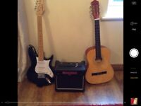 Electric guitar and amplifier for sale.