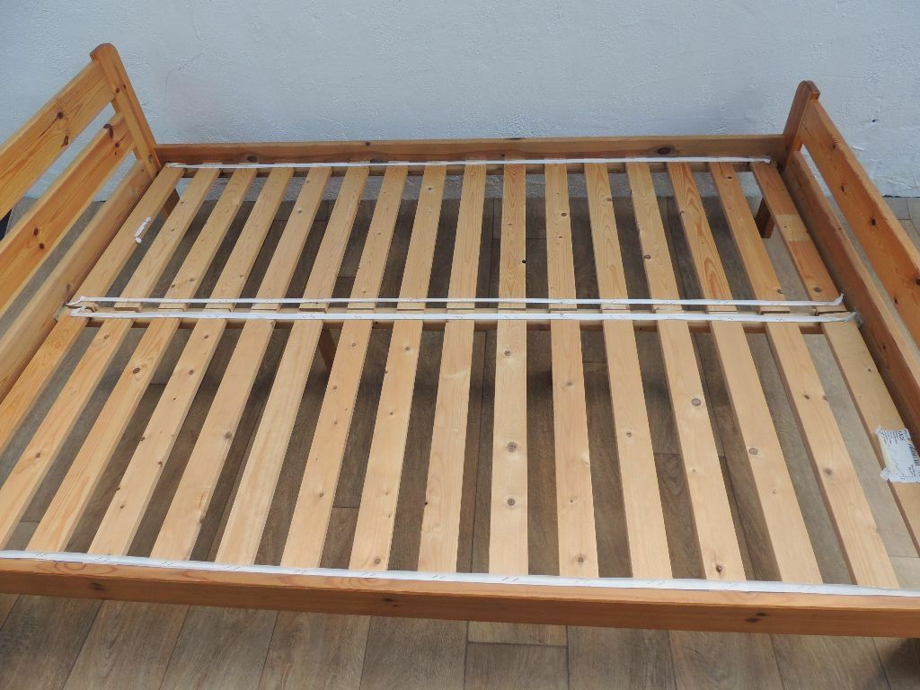ikea double wooden bed frame delivery