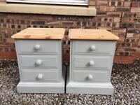 Shabby chic solid pine bedside table/cabinets. Farrow & ball