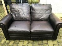 Sofa settee brown leather reclining 3 +2 seater