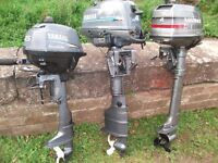 3x boat engines for sale 4hp yamaha. 2,5hp yamaha.4hp mariner