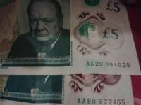 AK20 or AA50 Rare 5£ note