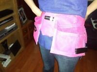 ONE FOR THE LADIES PINK DOUBLE LEATHER TOOL POUCH