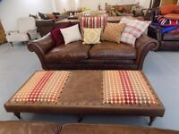Beautiful Large Leather & Fabric Tetrad Footstool *Footstool Only*