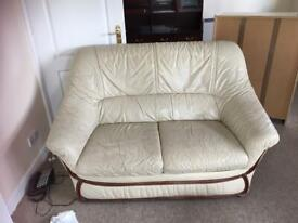 2 seater leather sofa and two chairs