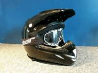 Shox road legal mx/enduro motorbike helmet and Thor goggles