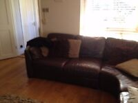 Leather corner sofa - Brown Now reduced to £175