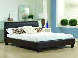 BRAND NEW HIGH QUALITY DOUBLE LEATHER BED IN BLACK/BROWN COLORS-- EXPRESS SAME DAY DELIVERY