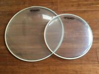 Drum Heads - Evans 16 G1 Clear and Evans 12 Gplus