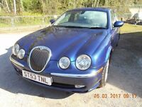 Jaguar S Type 2004 (53) V6 3.0l Petrol Automatic Blue. For spares or repair.