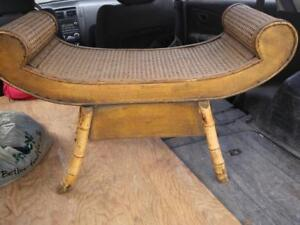 Oakville ALLADIN'S FOOTSTOOL Bamboo Cane Middle Eastern Look Rattan Low Table  Light Decor