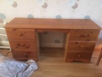 Wooden dressing table with stool and mirrors