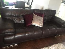 Brown leather large sofas 3 seater and 2 seater