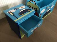 Toddler wooden storage box and bedside table