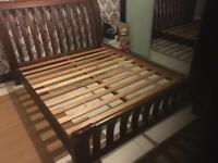 Solid Wood Sleigh Bed & matching bed side