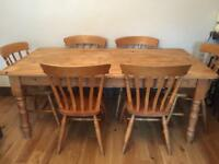 Strong large solid wood 6ft long farmhouse dining table with 6 spindle chairs (shown in last photo)