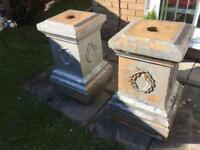 Two Large Stone Concrete Garden Ornament Gate Post Tops Statues Lawn