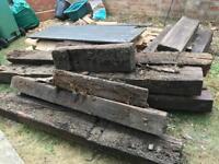 Garden wooden logs