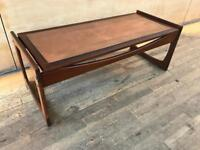 Copper Egyptian Relief Teak Coffee Table